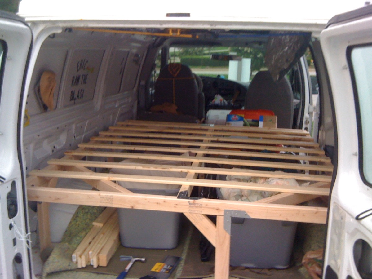 How to build a wooden bedframe in a van down by the river - Prieel frame van ...